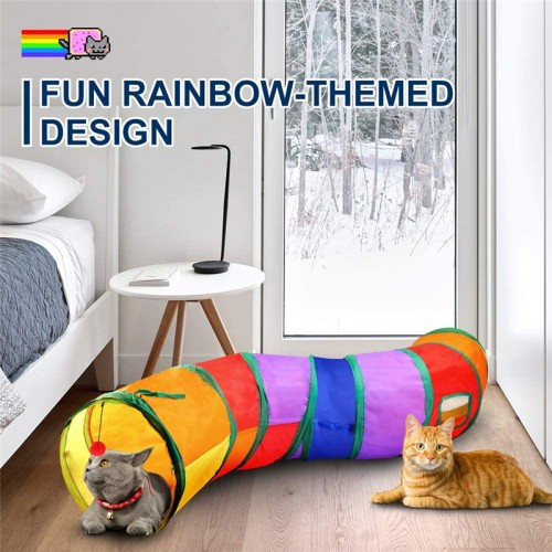 Cat tunnel with game balls, interactive peekaboo cat slot toys, indoor cat camouflage S-shaped tunnel, suitable for puppies, kittens, rabbits