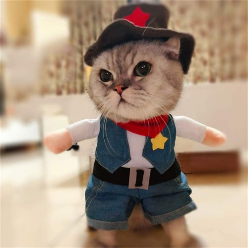 Pet dog cat Halloween costume, party cowboy Christmas special event costume