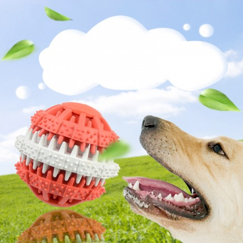 6cm Rotatable Rubber Pet Dog Ball Dog Teeth Cleaning Tools Durable Food Dispense Interactive Dog Toys