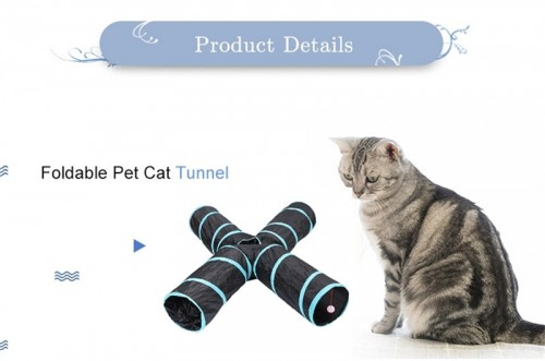 4 Way Cat Toy Tunnel Tube with Carry Bag, Bored Cat Nip Toys Peek Hole Toy Ball Cat, Puppy, Kitty, Kitten, Rabbit