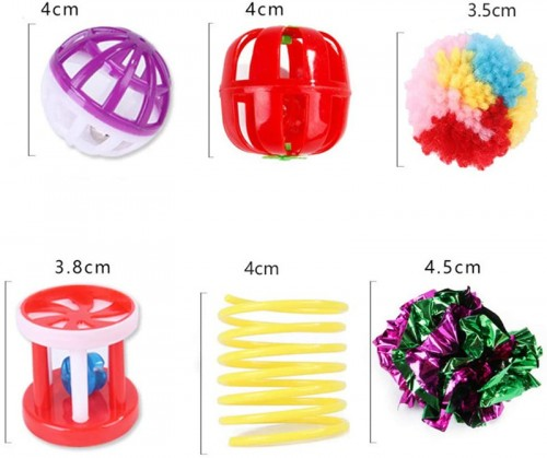 20 Pcs Cat Toy Set Durable Pet Chewys Plaything Kittern Bell Ball Molars Rats Spring Tumbler Funny Cat Stick Cats Channel Sisal Ball Tunnel