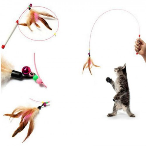Interactive cat wand toy cat teaser stick toy with steel wire feather bell