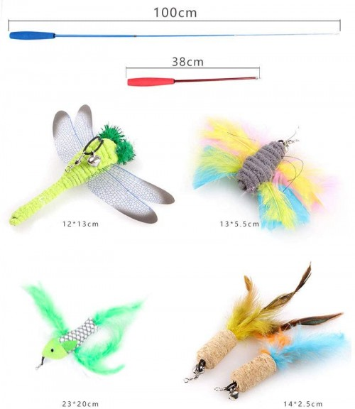 6PCS Cat Toys Kitten Toys Assortments, Cat Toys for Indoor Cats, Feather Teaser Wand Dragonfly Butterfly Toys