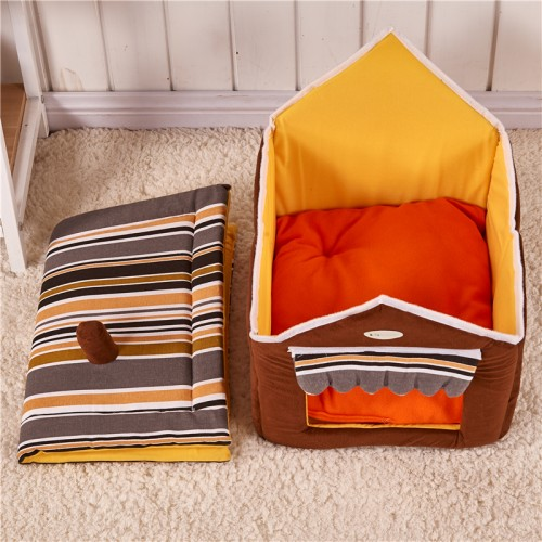 Kennel collapsible pet cat and dog bed with cushions pet puppy indoor cabin