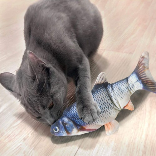 Electric fishing, mobile cat kicking fish toy, realistic fish, swinging fish catnip toy, action cat toy