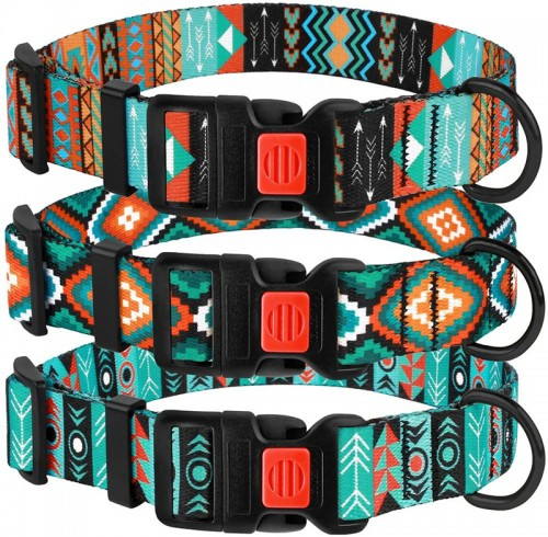 Nylon Dog Collar with Buckle Tribal Pattern Puppy Adjustable Collars for Dogs Small Medium Large