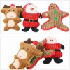 Christmas Plush Interactive Dog Squeaky Toys Xmas Gift for Small Medium Large Pet Included Ginger Man Reindeer Santa Claus 3 Pcs Set