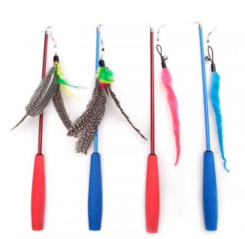 Three-section telescopic type feather caterpillar funny cat stick cat toy fishing rod funny cat stick