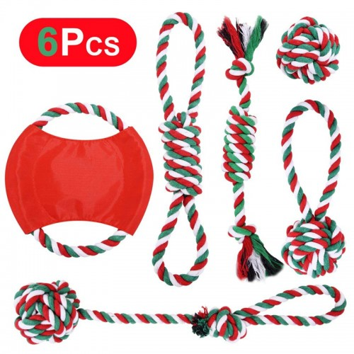 Christmas Dog Rope Toy Christmas Stocking Gift Set Cotton Rope Knot Chew Toy for Medium and Large Dogs Teething Clean