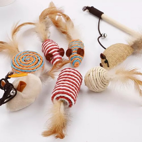 Pet Cat Teaser Stick Toy Natural Bamboo Wand Dangle Mouse Pet Toy Funny Elastic Rope Training Cat Toy