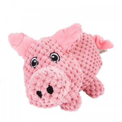 Pink Pet Large Dogs Toy Puppy Chew Biting Pig Squeaker Squeaky Plush Play Training Sound Toys