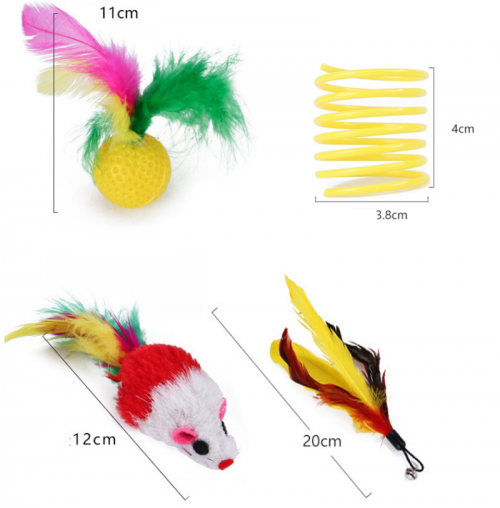 Pet cat toy 14-piece set, funny cat rod feather tunnel, fishing rod combination toy set