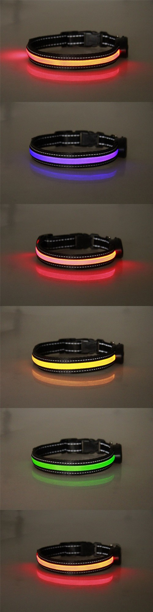 USB charging LED light-up dog collar, rechargeable and recyclable, pet collar