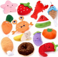13 pieces of dog squeaking toys, cute stuffed stuffed fruit snacks and vegetable dog toys, suitable for small and medium-sized puppy pets