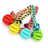 Natural Rubber Dog Training Dog Toy Ball with Rope Pet Fast Delivery Stock