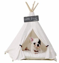 Pet Teepee Dog Cat Bed - Portable Pet Tents & Houses for Dog& Cat Beige Color 24 Inch