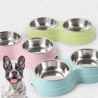 Double Pet Bowls Dog Food Water Feeder Stainless Steel Pet Drinking Dish Feeder Cat Puppy Feeding Supplies