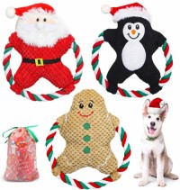 Christmas Squeaky Plush Dog Toys Stuffed Chew Toys with Cotton Rope Tough Puppy Interactive Toy Set