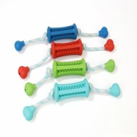Wholesale In Stock Dog Pet Hollow Dog Rubber and Rope Assemle molars chewing Biting Toy For Dogs