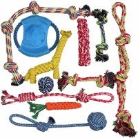 Dog rope toy for powerful chewing-a set of 11 almost indestructible dog toys-giveaway giraffe rope toy