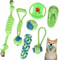 Dog Rope Toys Set Multi Color Puppy Tooth Durable Bite-Resistant Chew Rope Knot Toy- 7 PCS