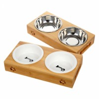 High Quality Wooden Support Pet Bowls Dog Bowl Ceramic Double Bowls Set For Cats