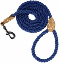 dog leash Woven cotton rope cotton Handle and Heavy Duty Metal Sturdy Clasp pet leash