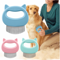 Pet Massage Brush Removal Comb Shell Shaped Handle Pet Grooming Massage