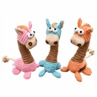 high sale Giraffe shape pet bite toy cute cartoon sound Interactive plush toys for cats dogs molar