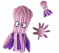 Whole Sale Eco Friendly Pet Dog and Cat Corduroy Interactive Chew Toy Animal Purple Octopus Shape with Squeaker
