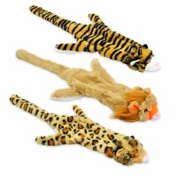 Stuffingless Dog Toys with Squeaker Durable No Stuffing Dog Squeaky Toys Flat Skinny Lion Tiger Leopard Plush Dog Chew Toys