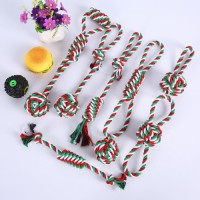 Multi cotton plush yellow knot rope ball dog and cat toys set for best Christmas gift