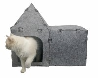 Easy Detachable Natural felt Cat Bed Breathable Cat Pet Cave Dark Cat Bed House With Cushion for Pets