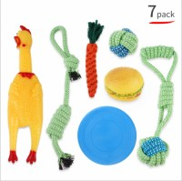 Training Puppy Cotton Rope Latex Pet Toy Play Set Custom LOGO Cheap Durable Squeaky 10 Pack Dog Chew Toy Set