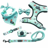 OEM accept adjustable dog collar leash and reversible harness set with dog bowtie