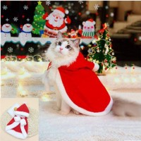 Christmas cat and dog costume pet shawl, cat cloak with Christmas hat, soft thick red velvet costume suitable for cats and puppies