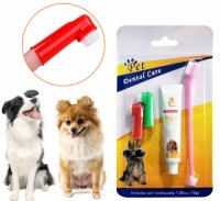 double sided pet dog finger toothbrush stick and toothpaste set