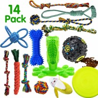 Dog chew toy is suitable for puppies teether, 14 pieces of dog rope toy tug of war dog toy set
