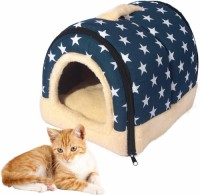 Winter 2-in-1 Covered Cat Bed Portable Indoor Pet House Unique Cozy Plush Foldable Small Dog House 7 Colors