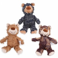Manufacturer wholesale stuffed squeaky chew plush pet dog yellow brown blue bear toys