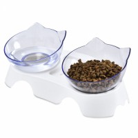 15 Degree Tilted Cute Cat Face Elevated Double Transparent Plastic Raised Cat Food Water Bowl Dishes
